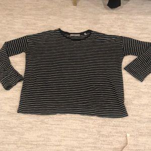 VINCE long sleeve tee. Black w white stripes. Med